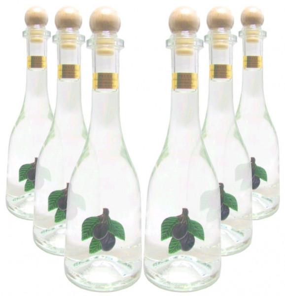 6 Flaschen Prinz Pflümli (Zwetschken-Spirituose) in Rustikaflasche mit Fruchtmotiv