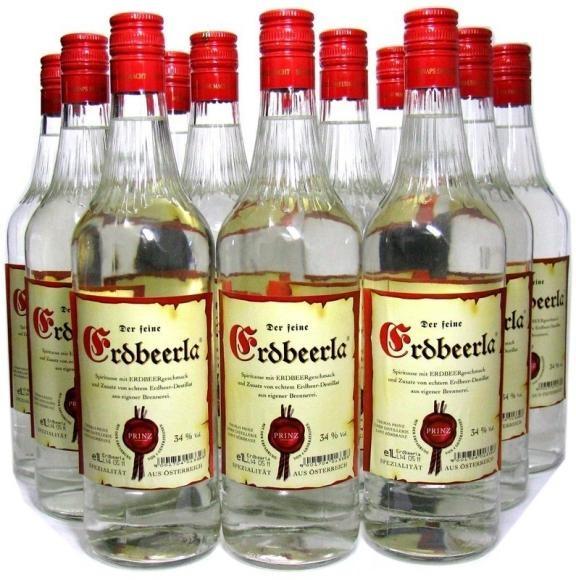 18 Flaschen Prinz Erdbeerla (Erdbeerschnaps) 1,0l + 4 Gläser aus Hörbranz in Österreich - 5,9% Rabat