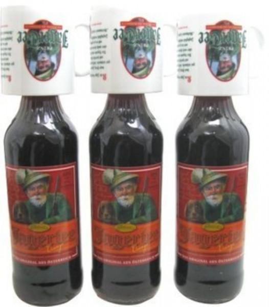 3 Flaschen Prinz Jager-Tee Orange 40% vol. 1,0l + 3 Jagertee-Tassen 0,25l - Jagatee aus Österreich