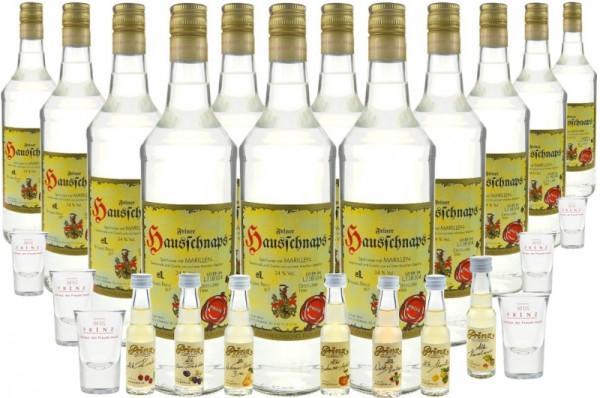 15 Flaschen Prinz Hausschnaps Marille 1,0l incl. 7 Prinz Alte Sorten Miniaturen & 6 Stamperl