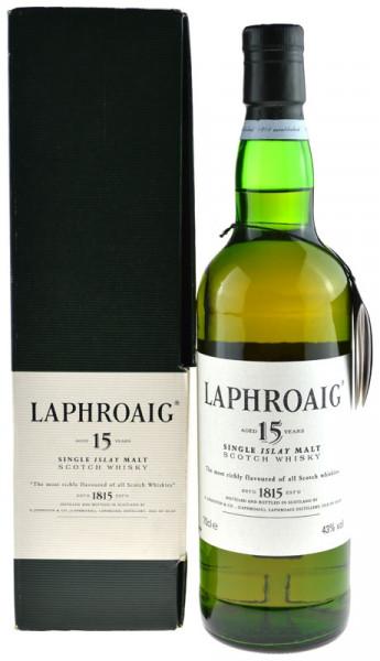 Laphroaig Whisky 15 Jahre Originalabfüllung 0,7l mit grünem Geschenkkarton, alte Ausstattung