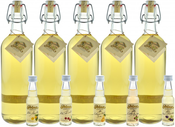 Prinz Alter Bodensee-Apfel - 5 Flaschen 1,0l & 5 Miniaturen Prinz Alte Sorten