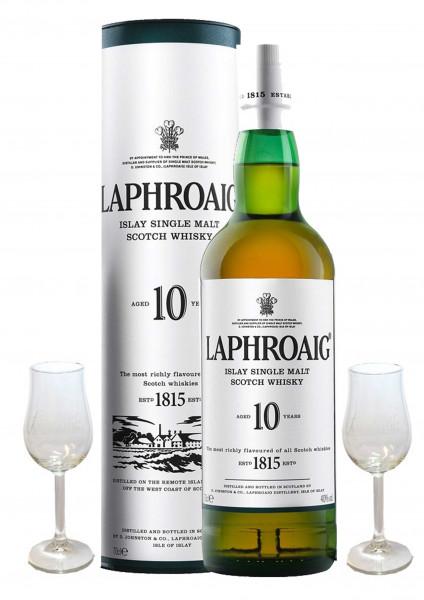 Geschenkidee 6: Laphroaig 10 Jahre + 2 Gläser