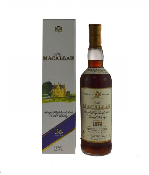 The Macallan Whisky Jahrgang 1974 Sherry Wood Originalabfüllung 0,7l - 18 Jahre alt, abgefüllt 1992