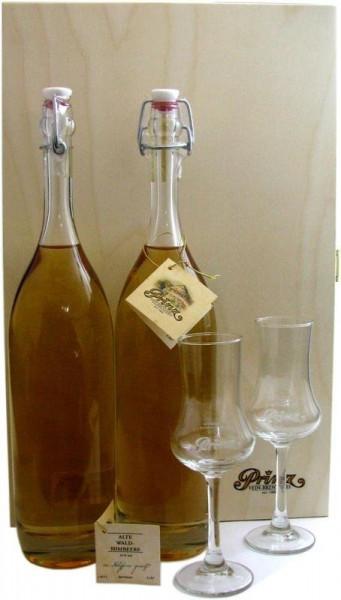 Prinz Schätze aus dem Holzfass Nr.3: 2x Alte Waldhimbeere 0,5l + 2x Kelchglas und Holzkiste