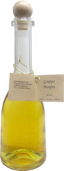 Grappa Monpra 0,5l in Rustikaflasche - Abfüller Prinz