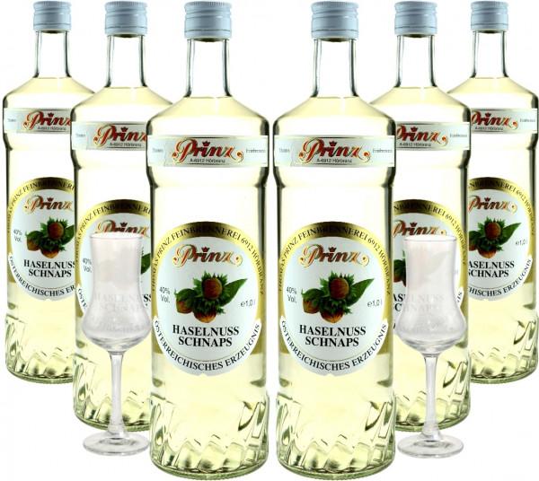 6 Flaschen Prinz Haselnuss Schnaps 1,0l - incl. 2 Stiel-Gläser - Spirituose aus Österreich