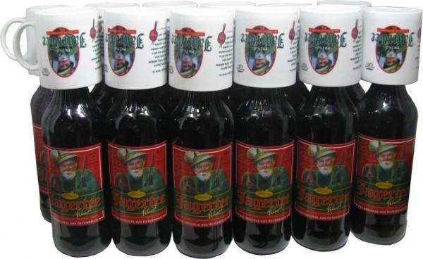 12 Flaschen Prinz Jager-Tee Kräuter 40% vol. 1,0l + 12 Jagertee-Tassen 0,25l - Original Jagatee aus