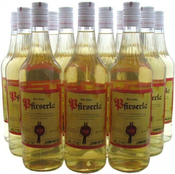 12 Flaschen Prinz Pfirserla (Pfirsichschnaps) 1,0l aus Hörbranz in Österreich