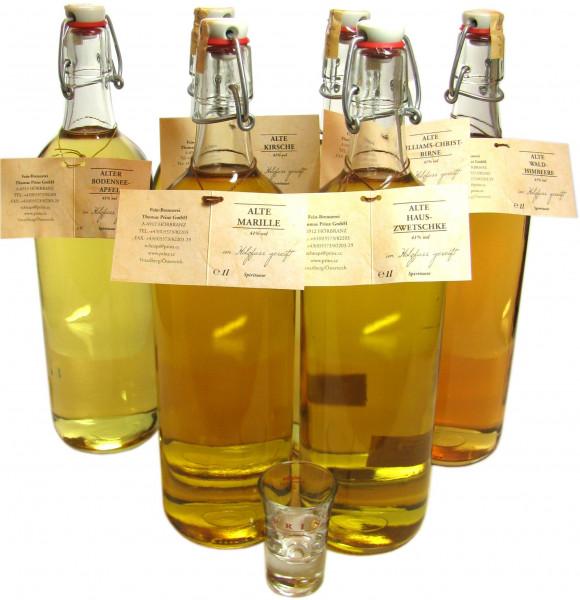 6 Flaschen Prinz Alte Sorten sortiert 1,0l incl. 2 Gläser - im Holzfass gereift aus Österreich