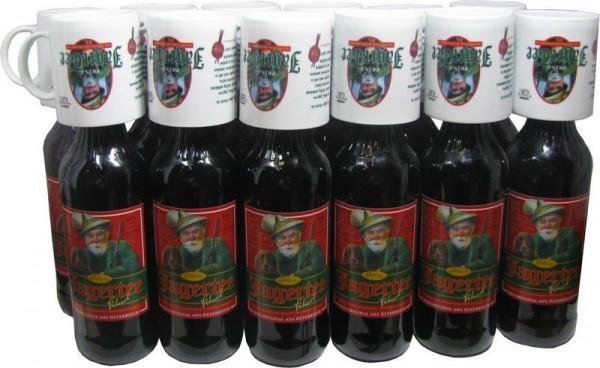 18 Flaschen Prinz Jager-Tee Waldbeere 40% vol. 1,0l + 18 Jagertee-Tassen 0,25l - Original Jagatee au