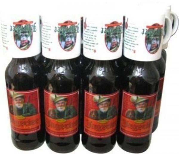 12 Flaschen Prinz Jager-Tee Orange 40% vol. 1,0l + 12 Jagertee-Tassen 0,25l - Original Jagatee aus Ö