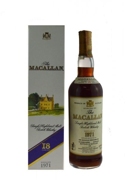 The Macallan Whisky 0,7l Jahrgang 1971, 18 Jahre alt, abgefüllt 1989 - Single Highland Malt Whisky