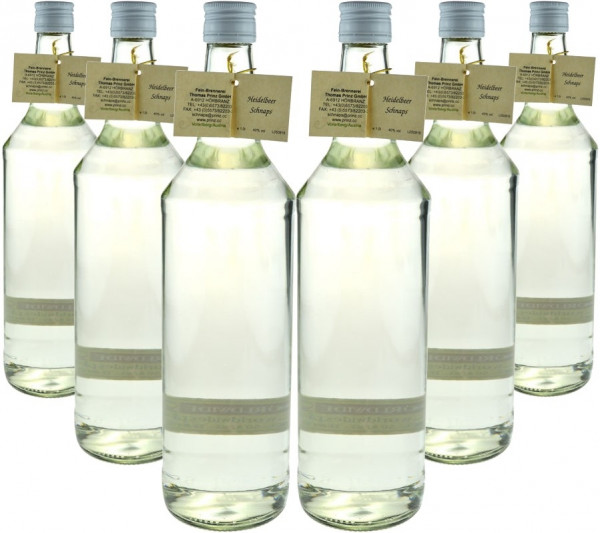 6 Flaschen Prinz Heidelbeer Schnaps 1,0l - Spirituose aus Österreich - 3% Rabatt